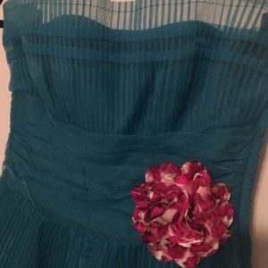 Teal Betsey Johnson Pleated Crepe Dress